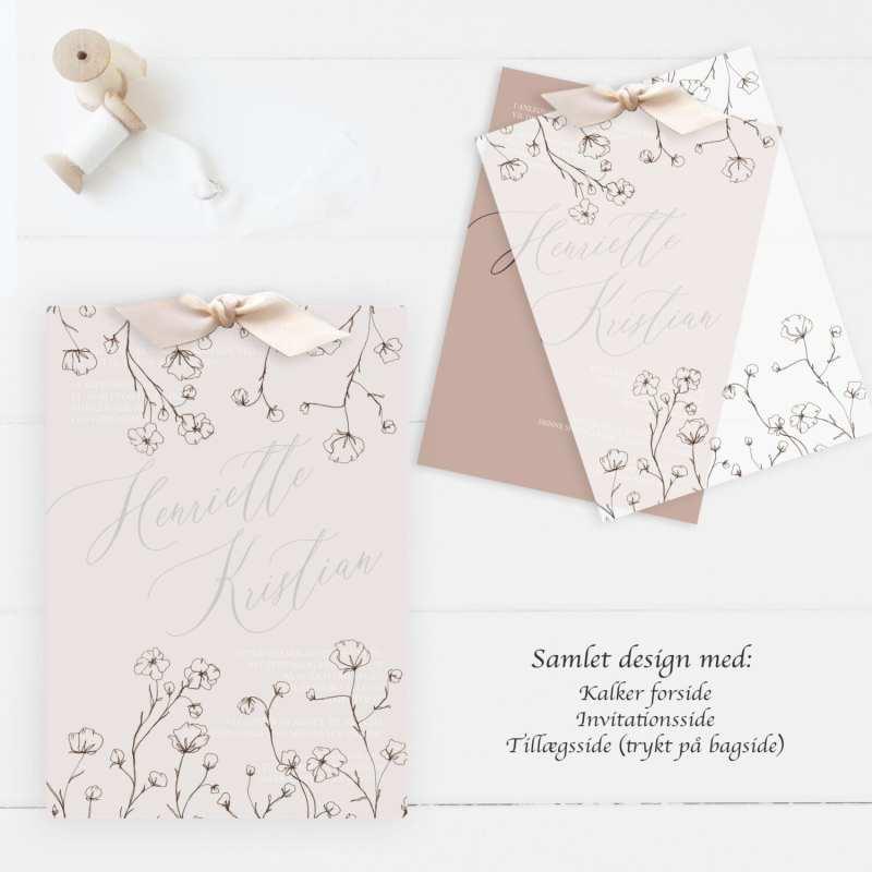 vintage love, kalker invitation til bryllup
