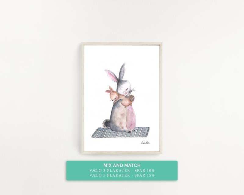 plakat til børneværelset, mor kanin krammer baby kanin