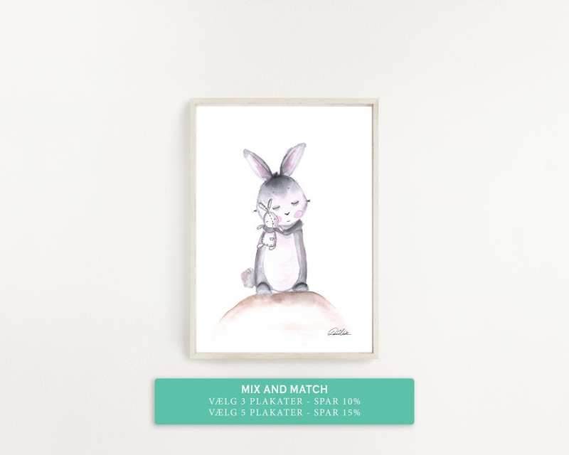 plakat til børneværelset. kanin med bamse