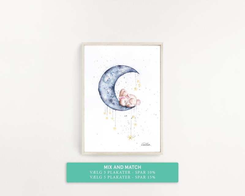plakat til børneværelset, sovetid, måne og kanin