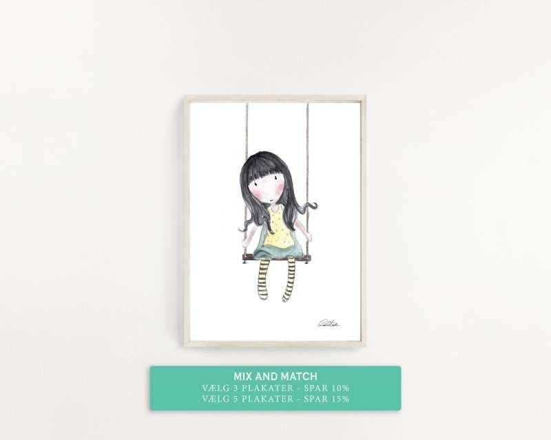 pige gynger, plakat til børneværelset