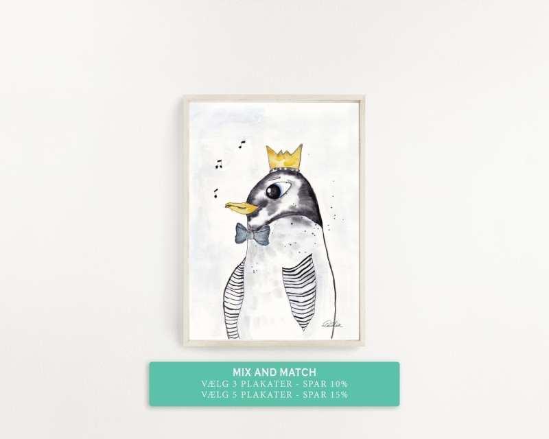 plakat til børneværelset, pingvin med krone