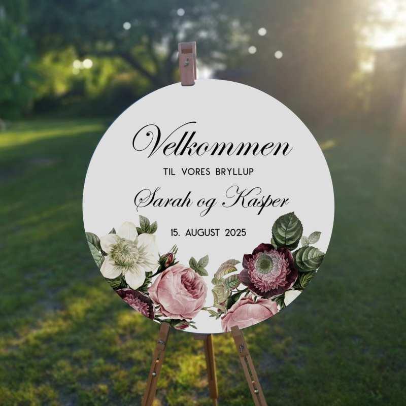 velkomstskilt. vintage floral. blomster. roser. sommer. natur