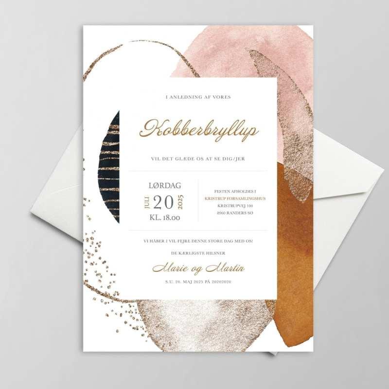 Graphic kobber bryllupsinvitation