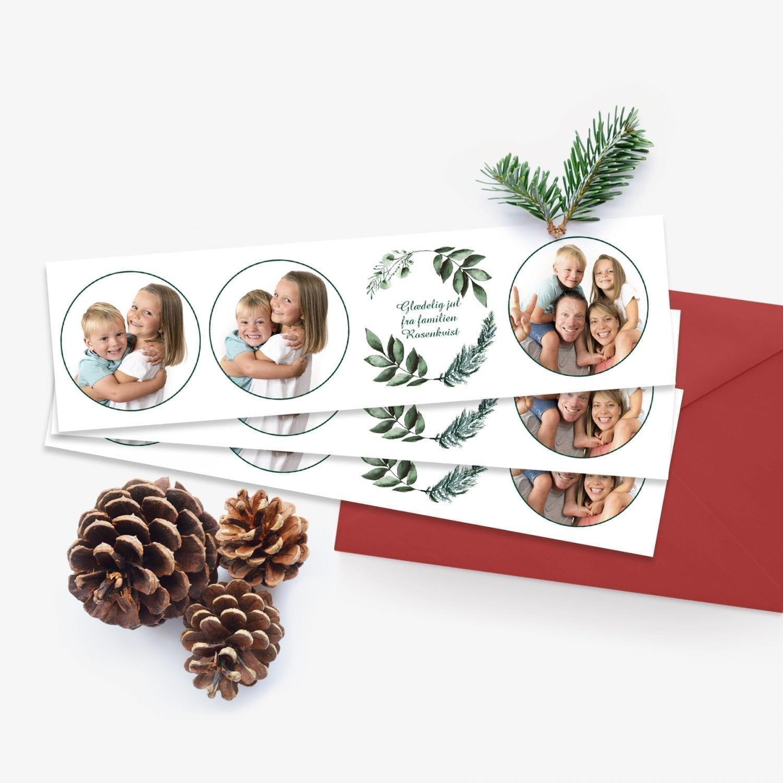 julekort fotostribe med 3 billeder og hilsen