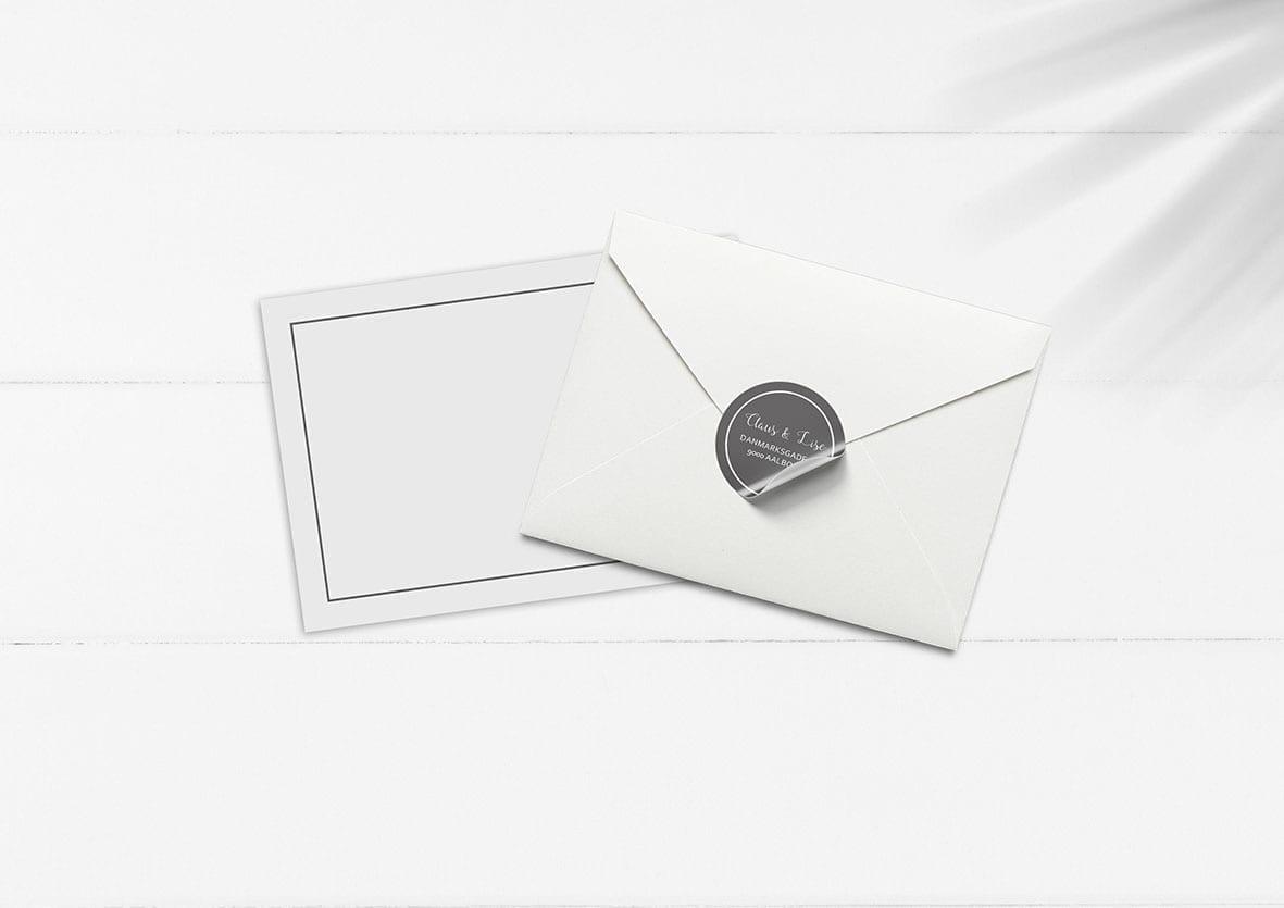 kuvert pakke med stickers grå alexander
