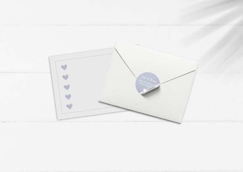 kuvert pakke med stickers duset blå hjerter