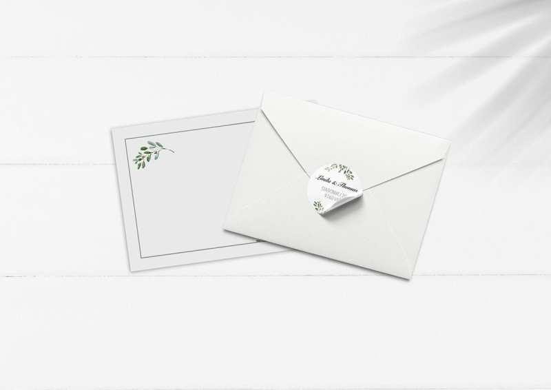 kuvert pakke med stickers grønne grene
