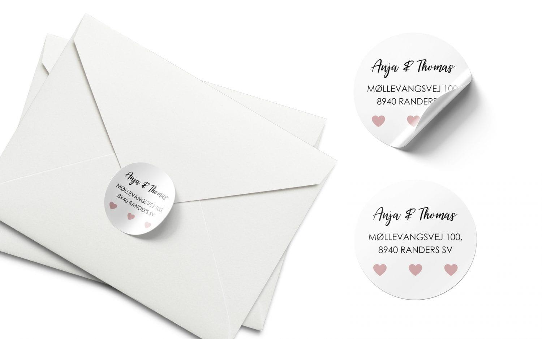 Stickers barnedåb lyserøde hjerter
