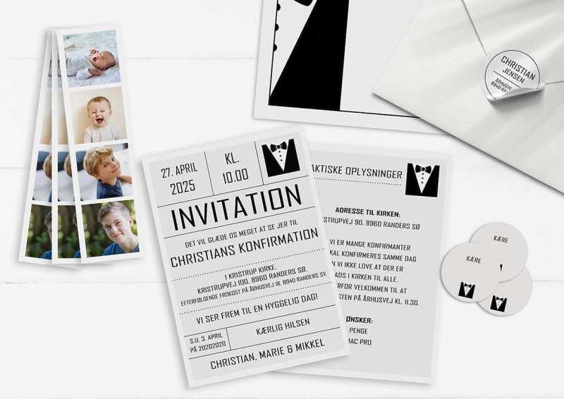 Invitation. Konfirmation. Dreng. Smoking. Jakkesæt. Sort og hvid