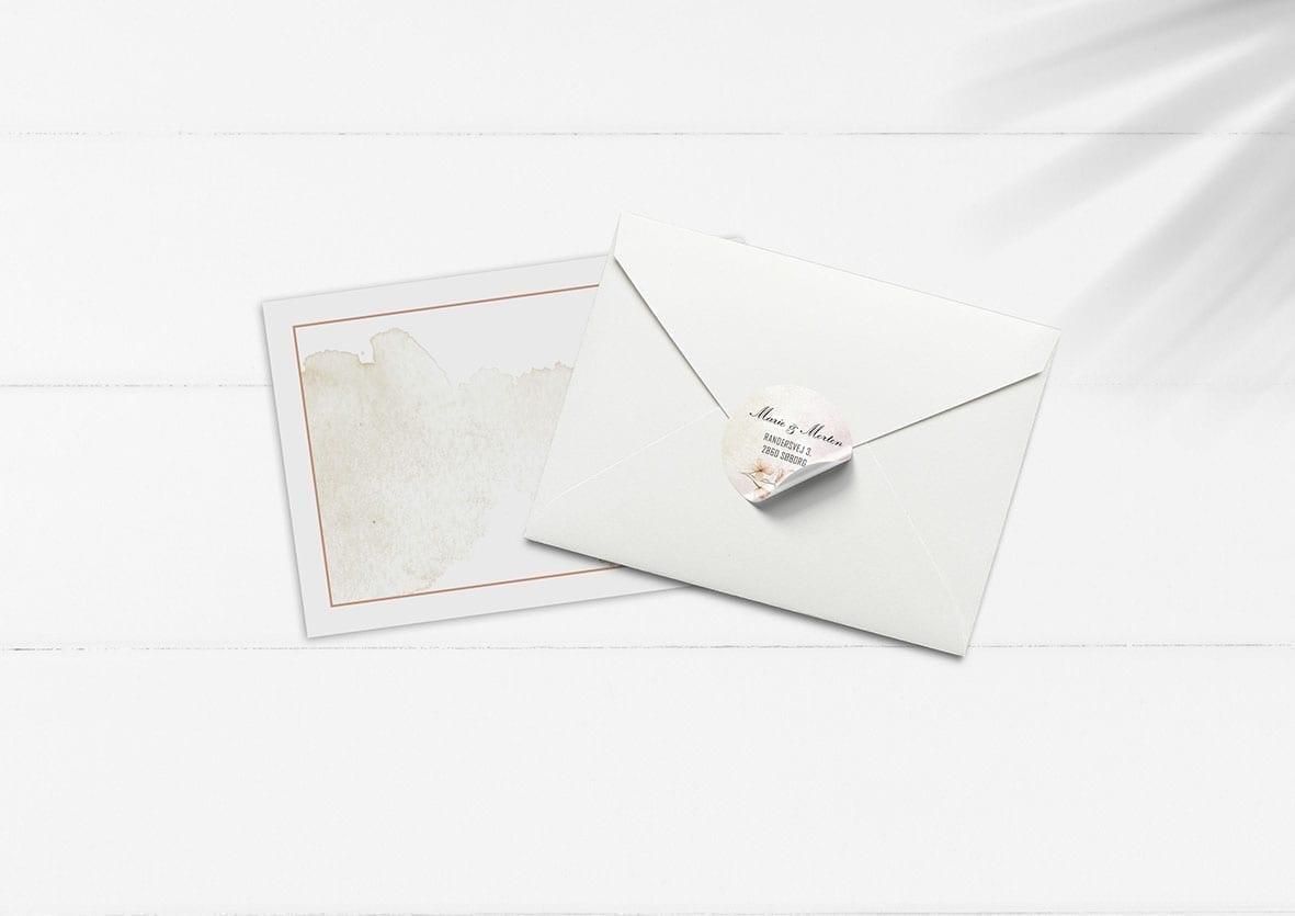 kuvert pakke med stickers vandfarve og blomster