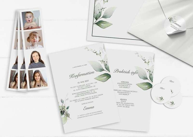Konfirmation invitation pige klassisk enkelt