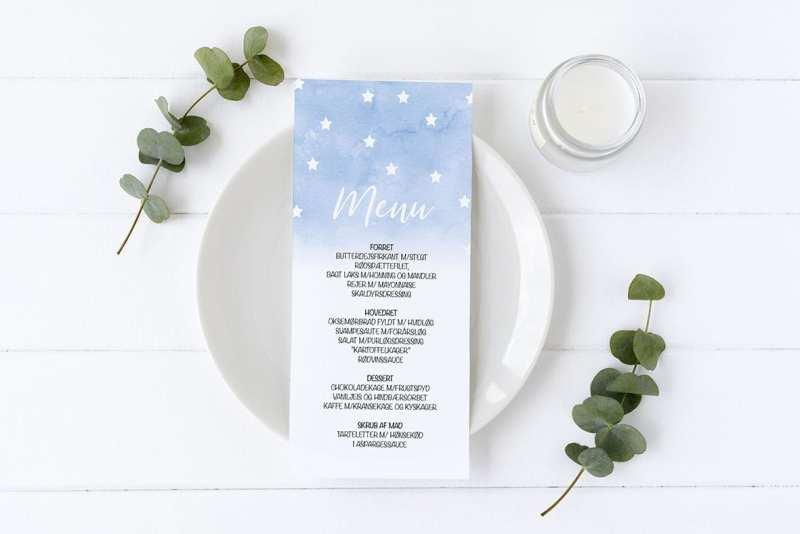 menukort med stjerner blå barnedåb