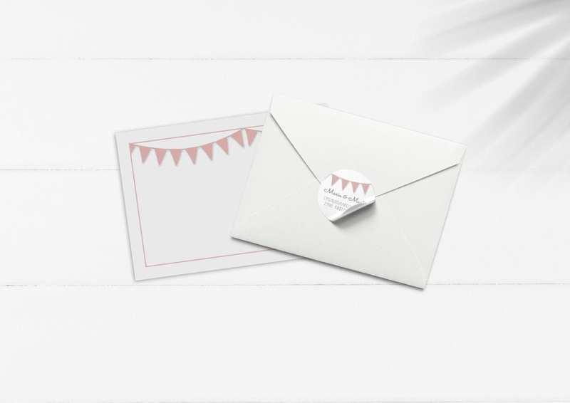 kuvert pakke med stickers lyserøde vimpler