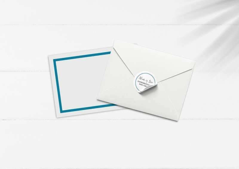 kuvert pakke med stickers turkis enkelt