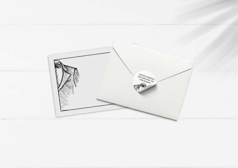 kuvert pakke med stickers streger jakkesæt