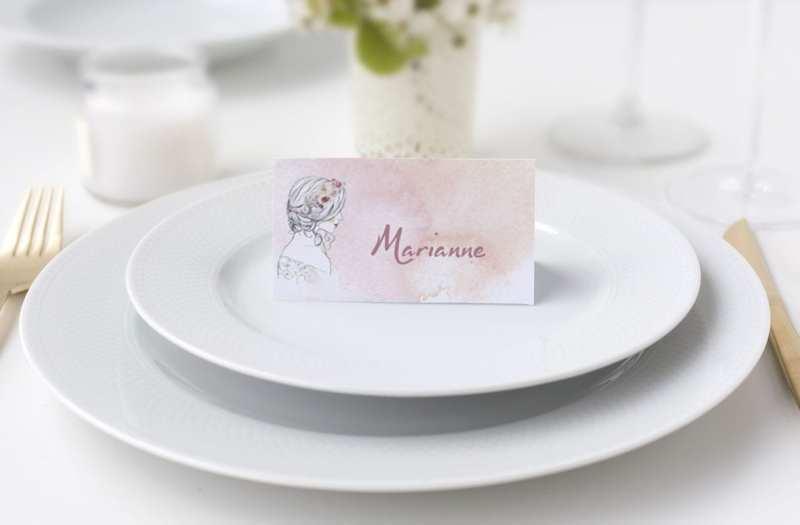 Bordkort konfirmation watercolor girl