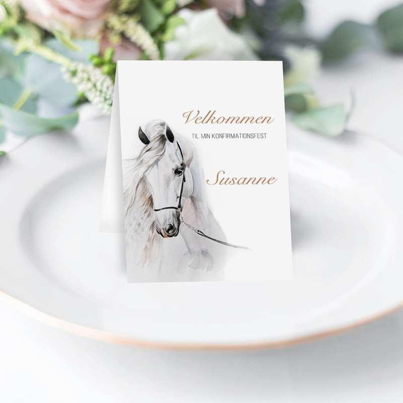Watercolor Horse - Foldet A6 - på tallerken