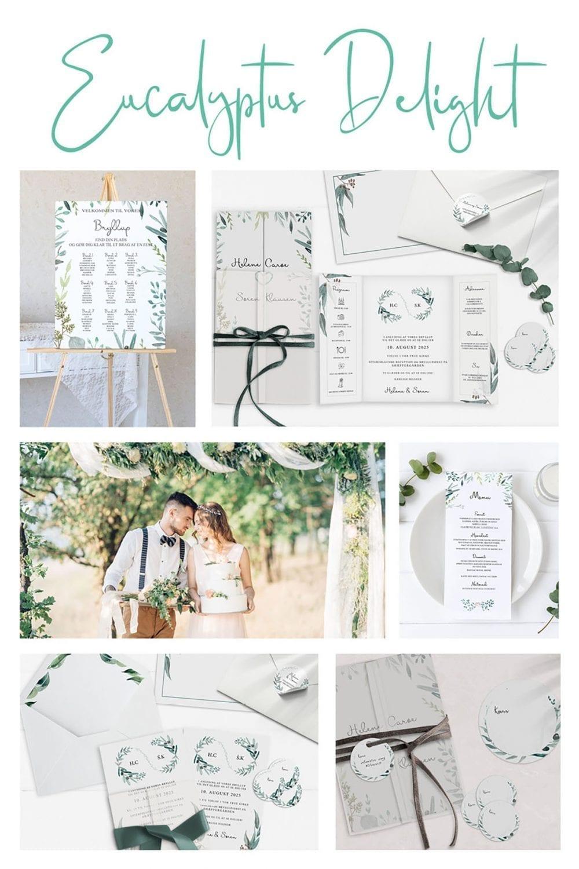 Kortserie bryllup eucalyptus grønne grene