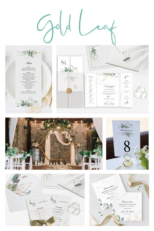 Kortserie bryllup guld og grøn klassisk