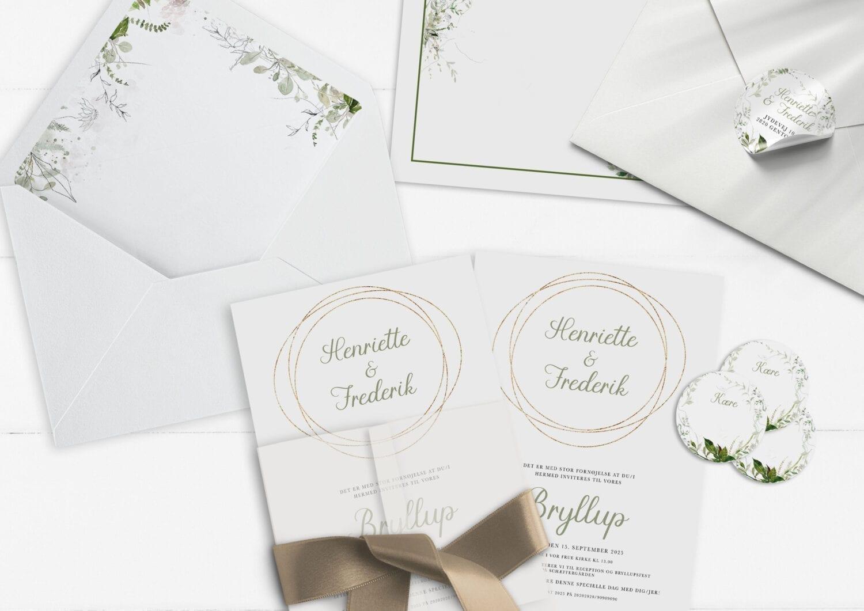invitation greenery kalker guld og grøn