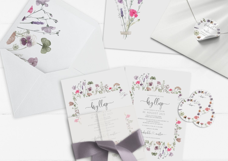 invitation pressed flowers vilde blomster