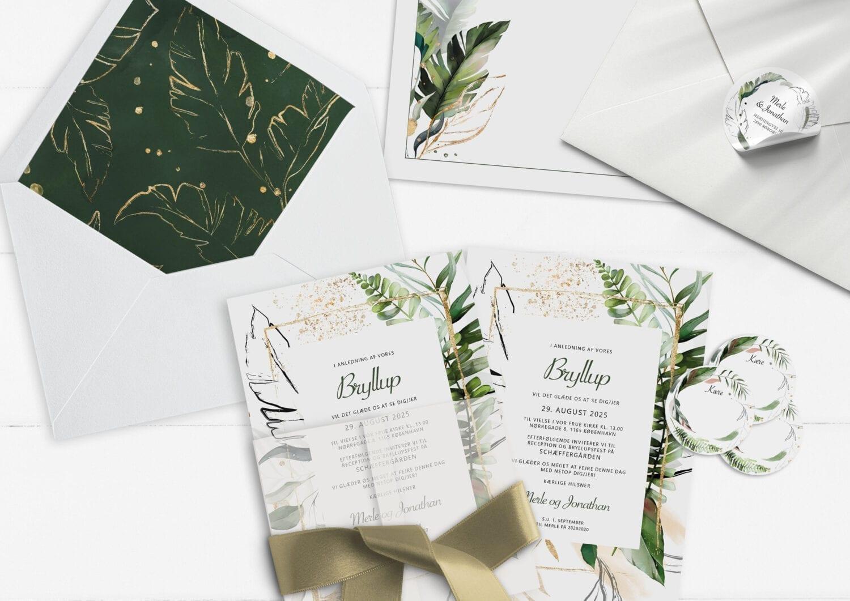 invitation eksotisk palmeblade grøn og guld Tropical Dreams