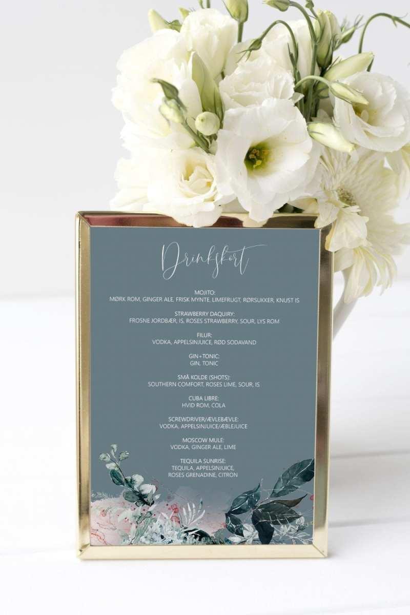 drinkskort, ramme, blue beyond, bryllup