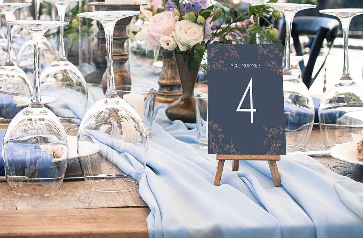 bordnummer, branch bronze fest, pynt opdækning, bordopdækning