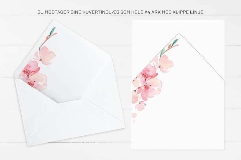 Cherry Blossom, kuvertindlæg, bryllup