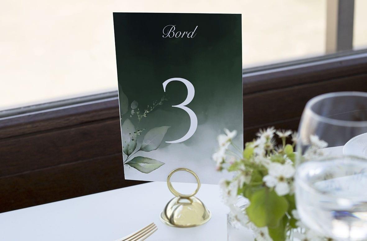 bordnummer, dark green kalker, fest, pynt opdækning, bordopdækning