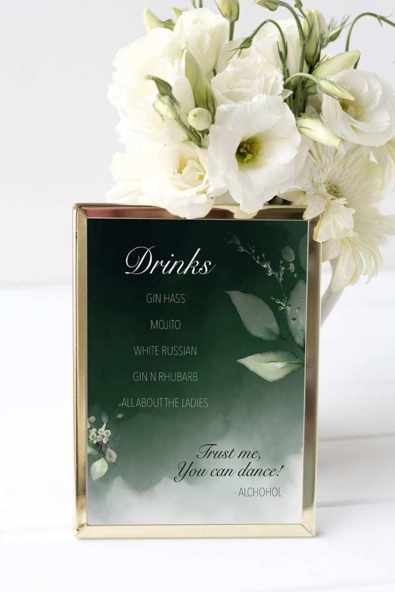 drinkskort, ramme, dark green, bryllup