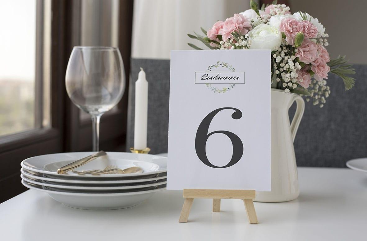 bordnummer, dusty green, fest, pynt opdækning, bordopdækning