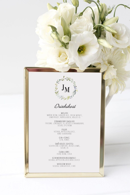 drinkskort, ramme, dusty green, bryllup