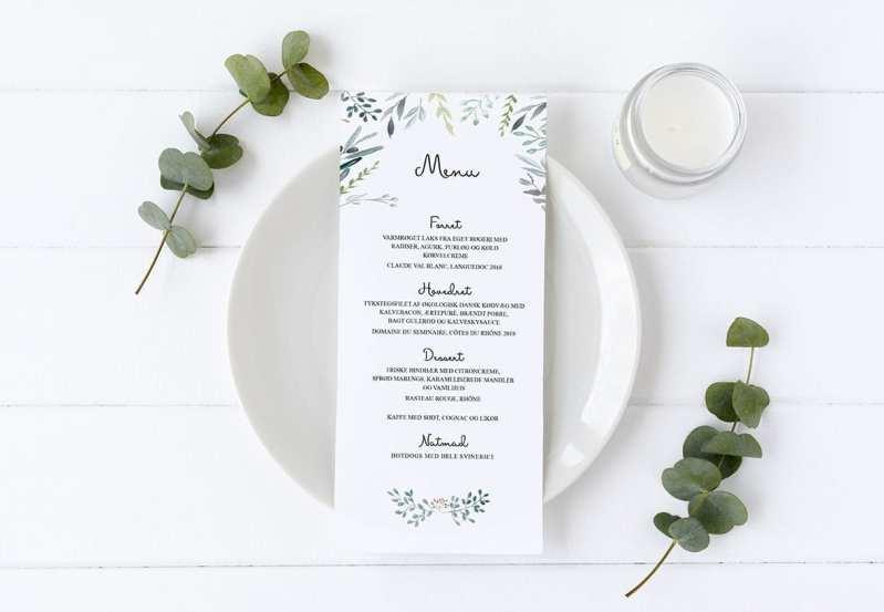 menukort eukalyptus grene enkelt