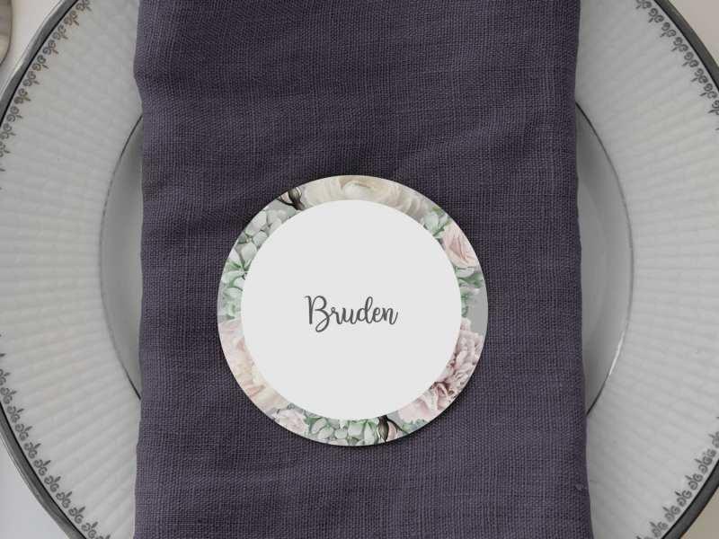 Flower Dream, runde bordkort, bryllup