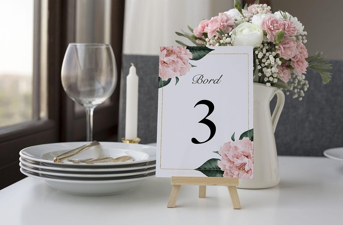 bordnummer, gold frame, fest, pynt opdækning, bordopdækning