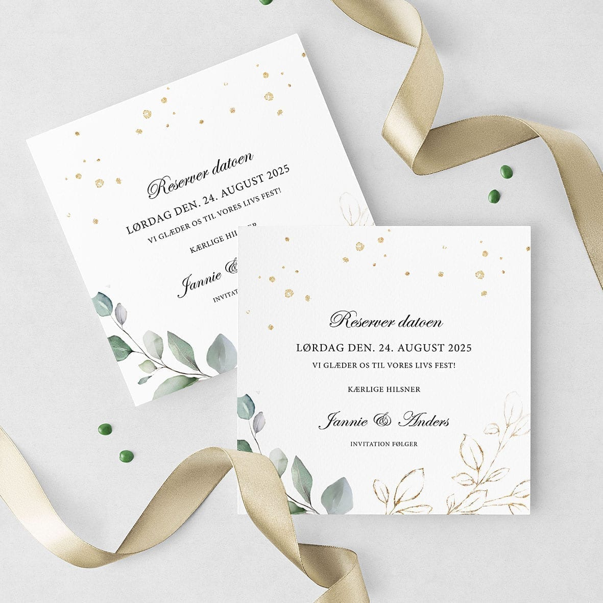 save the date gold leaf