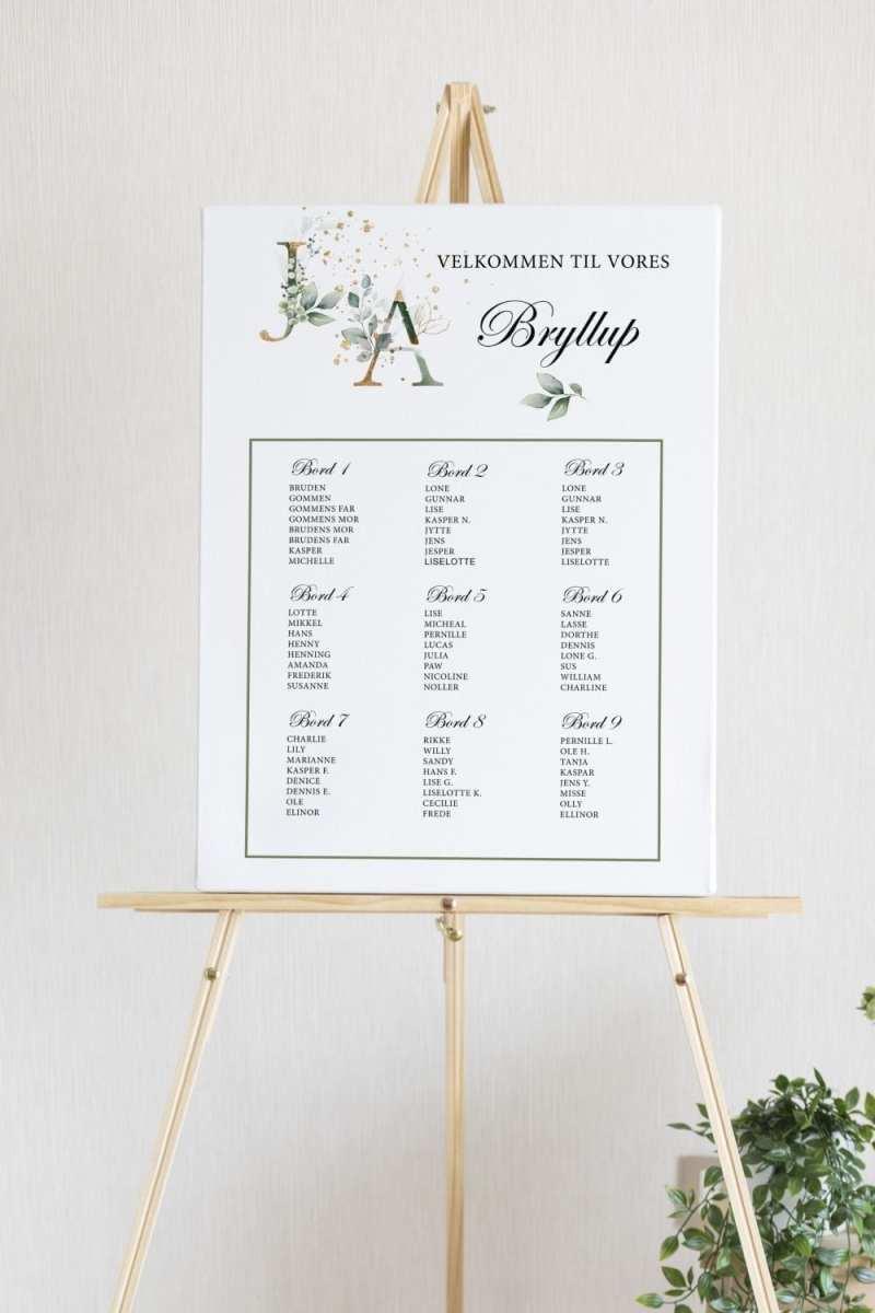 Gold Leaf, bryllup, bordplan