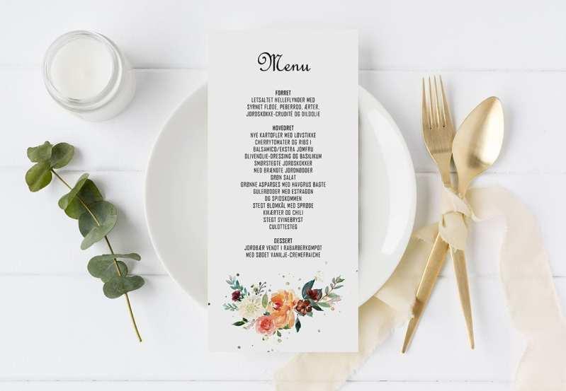 menukort til bryllup golden bouquet
