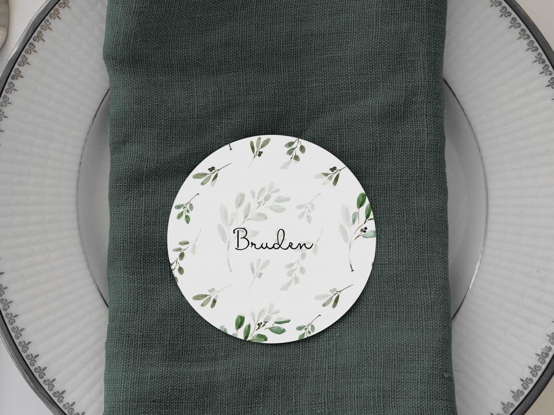 Green Leaf, runde bordkort, bryllup