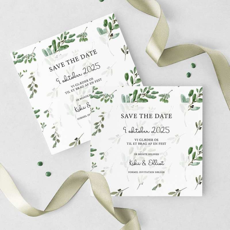 Save The Date Kort Green Leaf