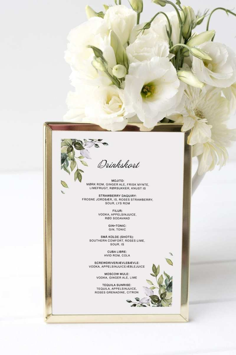 drinkskort, ramme, greenery fame, bryllup