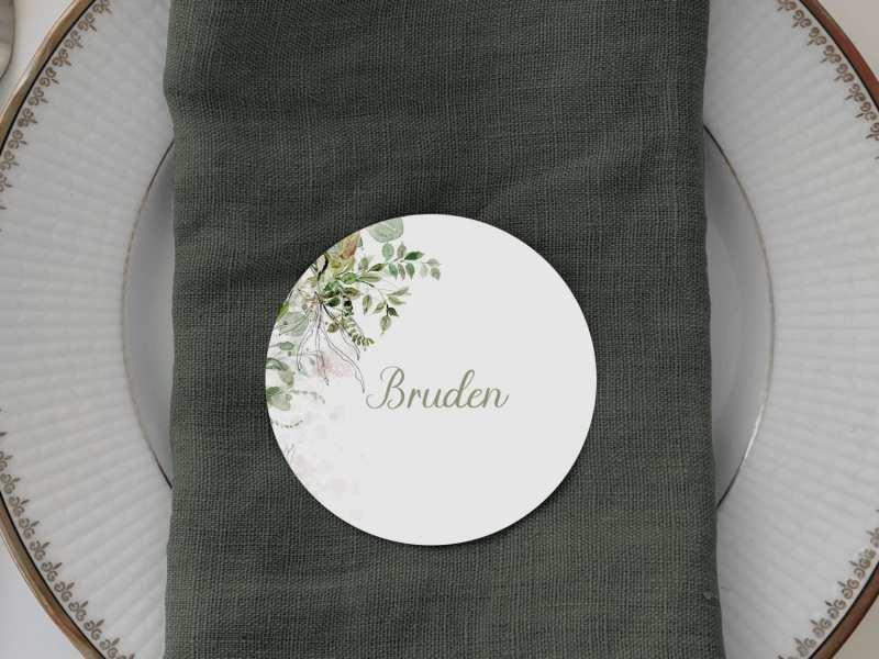 Greenery Kalker, runde bordkort, bryllup