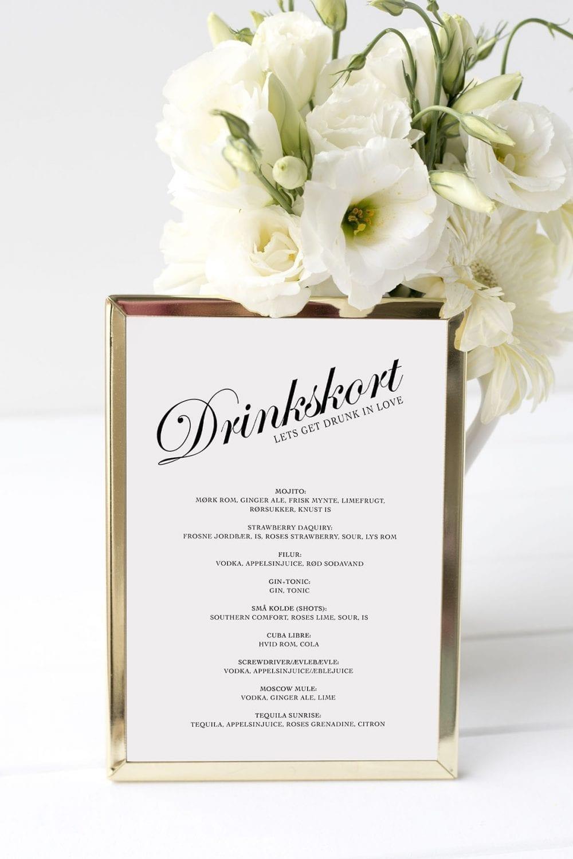 drinkskort, ramme, Kaligrafitti, bryllup