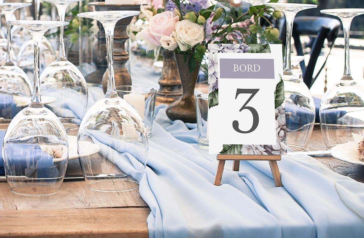 bordnummer, lavender hydrangea, fest, pynt opdækning, bordopdækning
