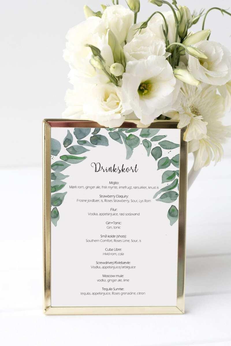 drinkskort, ramme, leaf me, bryllup