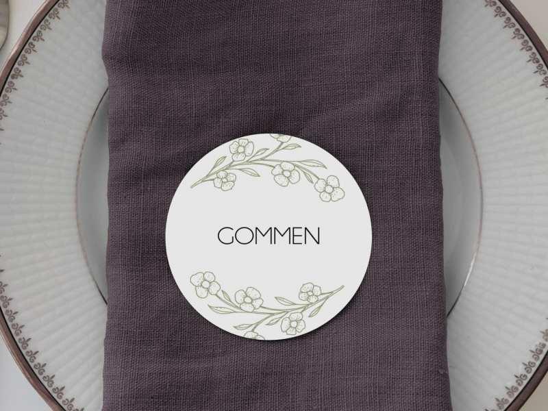 Limb Moss, runde bordkort, bryllup