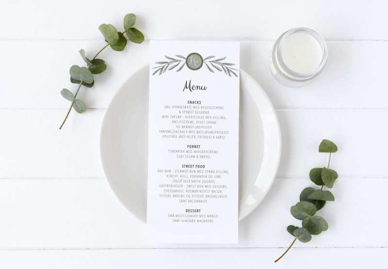 menukort til bryllup Olive Garden