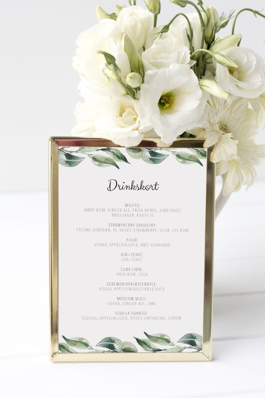 drinkskort, ramme, olive garden, bryllup